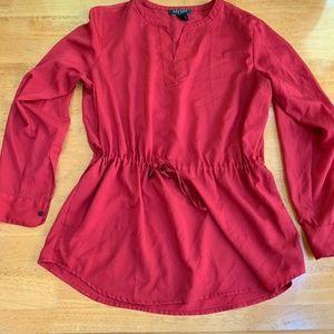 Lauren by Ralph Lauren Waist Defined Red Tunic Top